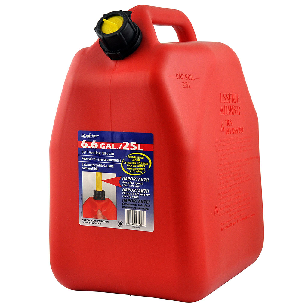 SCEPTER PLASTIC FUEL CAN W/ POURER RED 25L